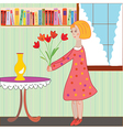 Girl child arranging flowers in the room vector image vector image
