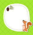 greeting card with cute squirrel greeting card vector image vector image