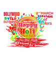 holi - indian festival of colors and spring 2018 vector image vector image