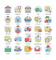 logistics delivery icons set vector image