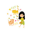 lovely little girl painting animals with color vector image