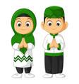 muslim kids couple cartoon vector image vector image