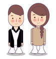 people in 1970s style clothes cartoon style vector image