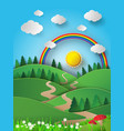 rainbow and sunshine over mountian vector image