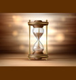 realistic hourglass sandglass 3d on brown vector image