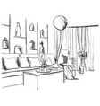 room interior sketch window sofa and furniture vector image vector image