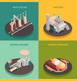 sausage factory isometric design concept vector image