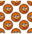Seamless pattern of a happy cartoon basketball vector image vector image