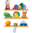 set of toys in the shelf vector image