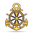 ship anchor and steering wheel nautical emblem vector image