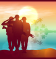silhouette a soldiers saluting against vector image vector image
