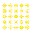 sun collections yellow hot sunshine symbols vector image vector image