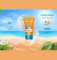 sun protection sunscreen tube sunblock cream vector image vector image