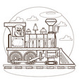 the old steam locomotive railway transport vector image vector image