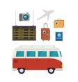 tourism equipment set icons