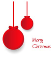 two red paper christmas decoration baubles hanging vector image vector image