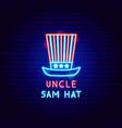 uncle sam hat neon label vector image vector image