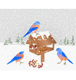 winter landscape forest with snow and bluebirds vector image