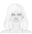 wireframe a girl with long hair front view 3d vector image vector image