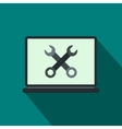 Wrenches on a computer icon flat style vector image