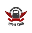 Sport club sign of kettlebell with wings vector image