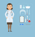 women doctor md in a white coat and medical vector image