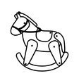 silhouette horse toy flat icon vector image