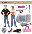 2000 fashion style man and woman personal objects vector image vector image