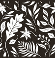 autumn leaves black and white seamless vector image vector image
