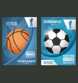 basketball and soccer sports poster with balloons vector image vector image
