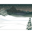 beauty snow mountain cartoon with pine tree backgr vector image vector image