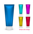 blank color cosmetic tube pack cream or gel vector image