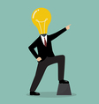 Businessman with a light bulb head pointing up vector image vector image