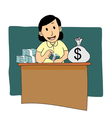 Businesswoman counting money cartoon vector image vector image