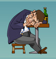 cartoon drunk man in a suit fell asleep sitting at vector image