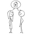 cartoon of man and woman thinking planning vector image