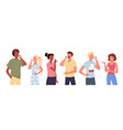 cartoon young man woman characters standing vector image vector image