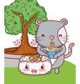 cat and food kawaii cartoons vector image