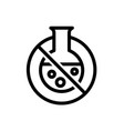 chemical free line icon with lab flask and bubbles vector image