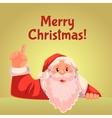 Christmas greeting card with cartoon Santa Claus vector image vector image