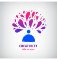 creative team imagination art logo man vector image vector image