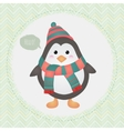 cute penguin in textured frame design vector image vector image