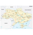 detailed colored road map ukraine vector image vector image