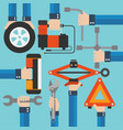 emergency road kit items auto mechanic tools moder vector image vector image