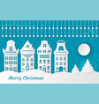 fairy tale paper cut city snow postcard vector image