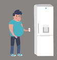 fat man goes to the fridge vector image vector image