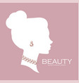 female head silhouette with pearls beaty care vector image vector image