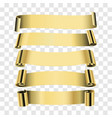 five gold ribbons isolated on transparent vector image vector image