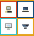 flat icon laptop set of computer notebook pc and vector image vector image