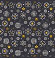 flowers seamless pattern with flat line icons vector image vector image